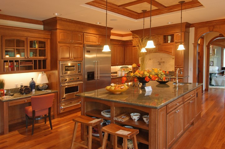 a luxury kitchen with all oak accent